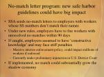 no match letter program new safe harbor guidelines could have big impact
