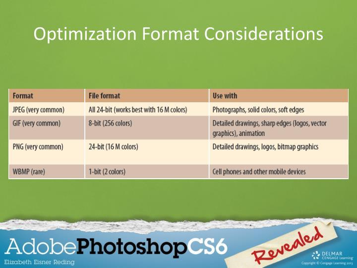 Optimization Format Considerations