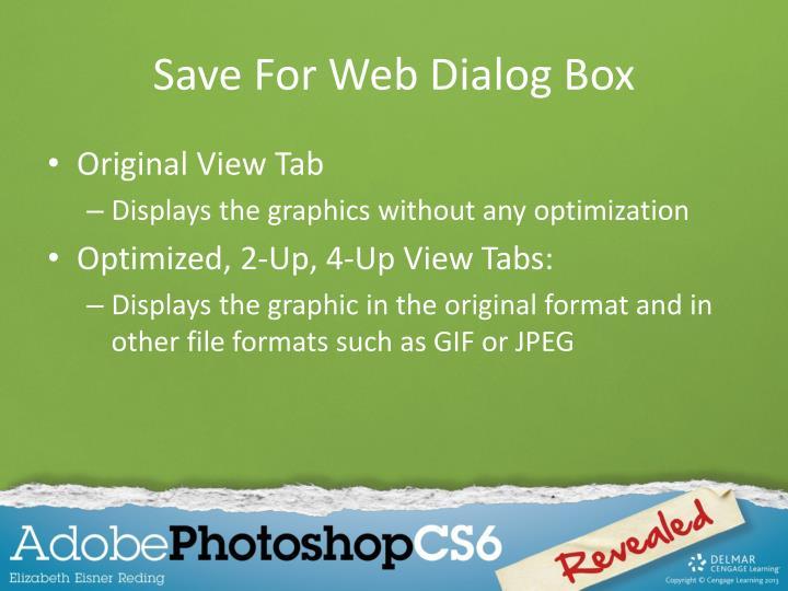 Save For Web Dialog Box