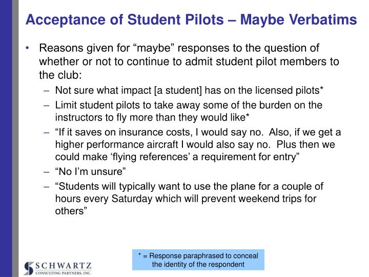 Acceptance of Student Pilots – Maybe Verbatims