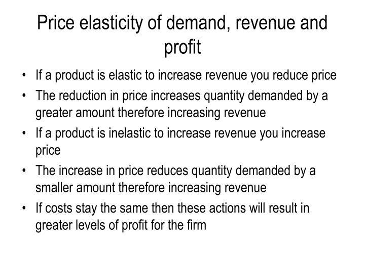 Price elasticity of demand, revenue and profit