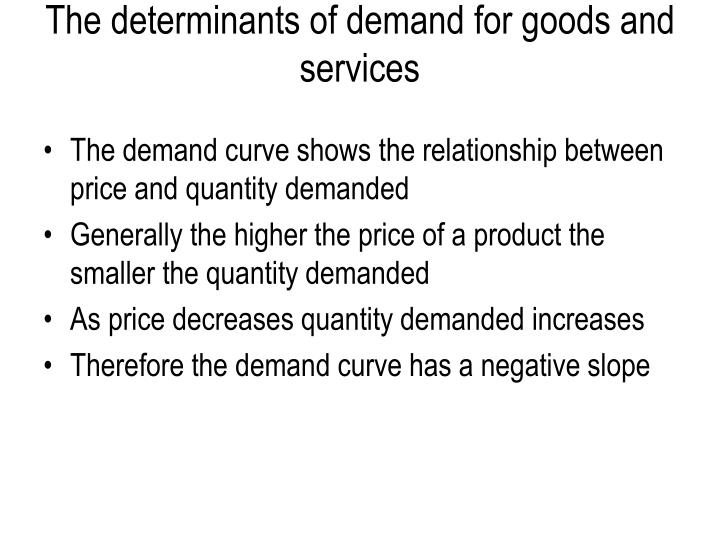 The determinants of demand for goods and services