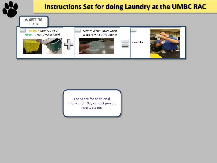 Instructions Set for doing Laundry at the UMBC RAC