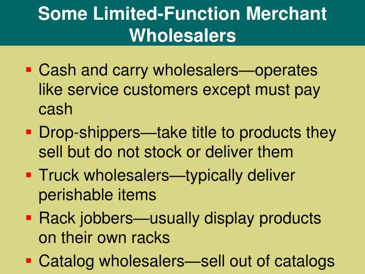 Some Limited-Function Merchant Wholesalers