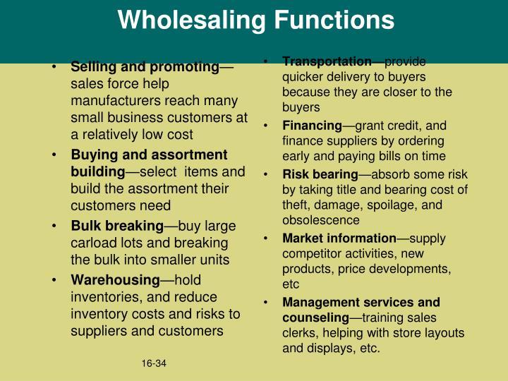 Wholesaling Functions