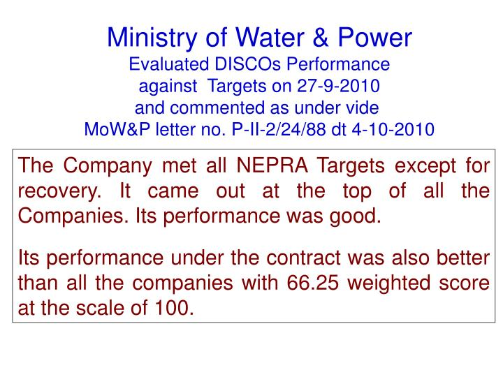 Ministry of Water & Power