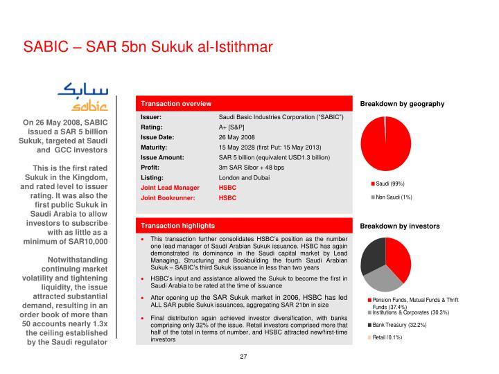 SABIC – SAR 5bn Sukuk al-Istithmar