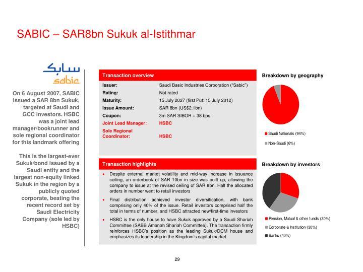 SABIC – SAR8bn Sukuk al-Istithmar