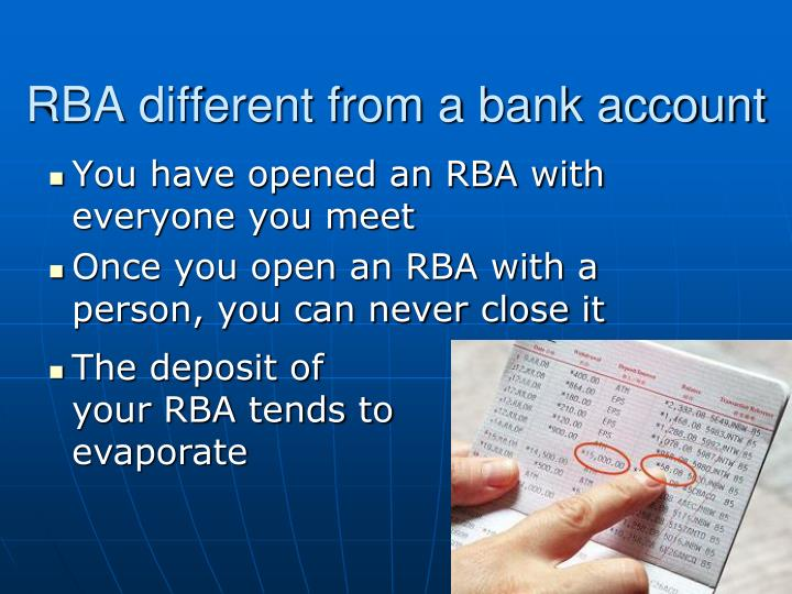 RBA different from a bank account