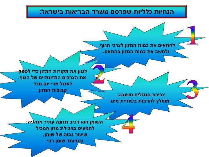 הנחיות כלליות שפרסם משרד הבריאות בישראל: