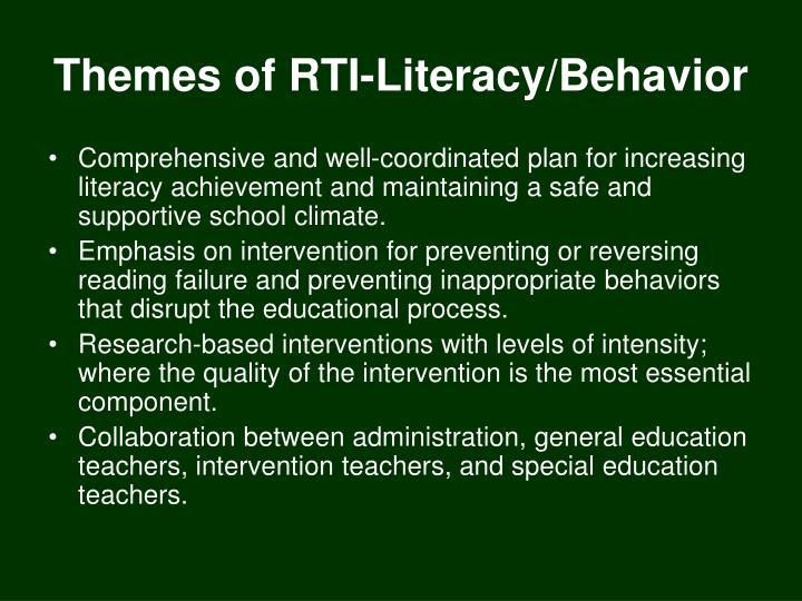 Themes of rti literacy behavior