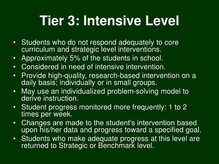 Tier 3: Intensive Level