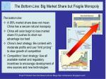 the bottom line big market share but fragile monopoly