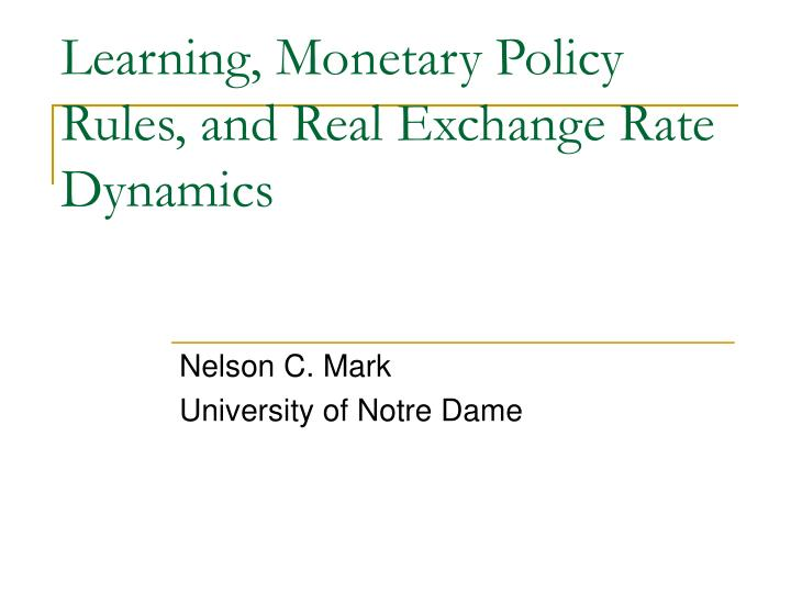 learning monetary policy rules and real exchange rate dynamics n.