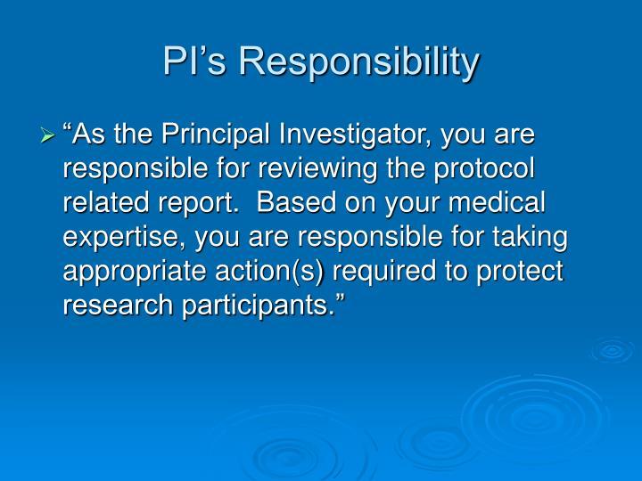 PI's Responsibility