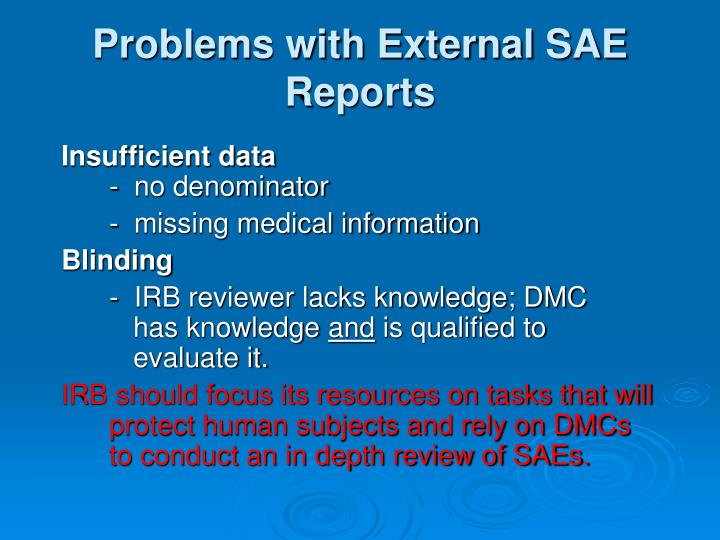 Problems with External SAE Reports