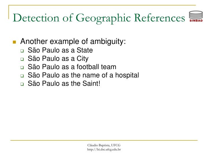 Detection of Geographic References