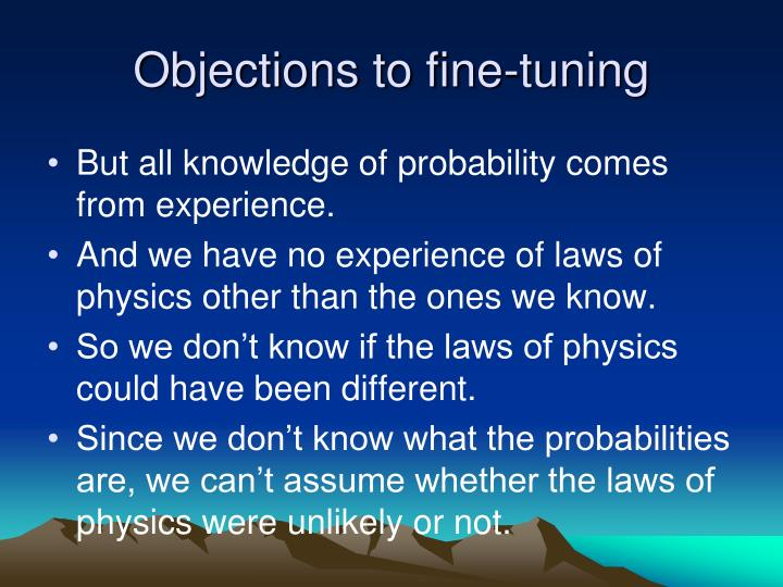 Objections to fine-tuning