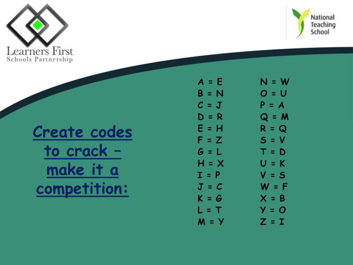 Create codes to crack – make it a competition: