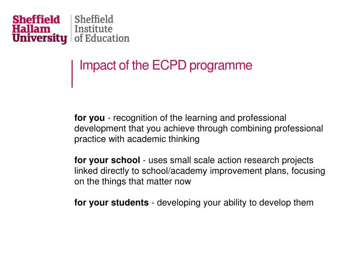 Impact of the ECPD programme