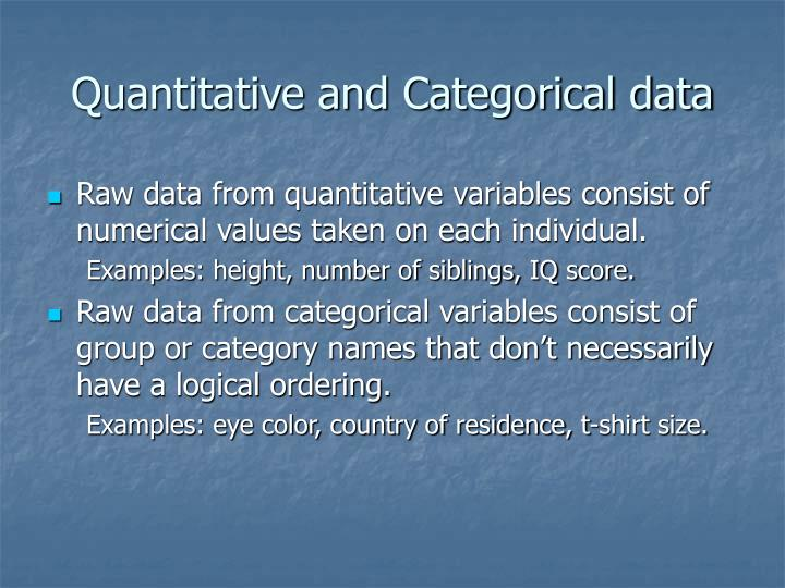 Quantitative and Categorical data
