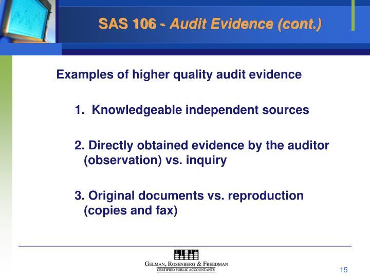 sas 106 audit evidence cont