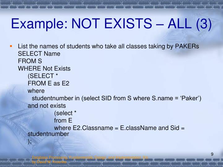 Example: NOT EXISTS – ALL (3)