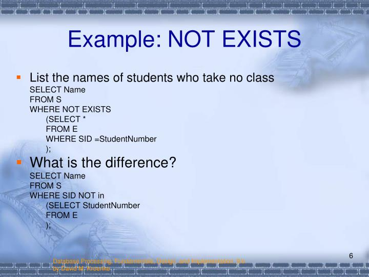 Example: NOT EXISTS