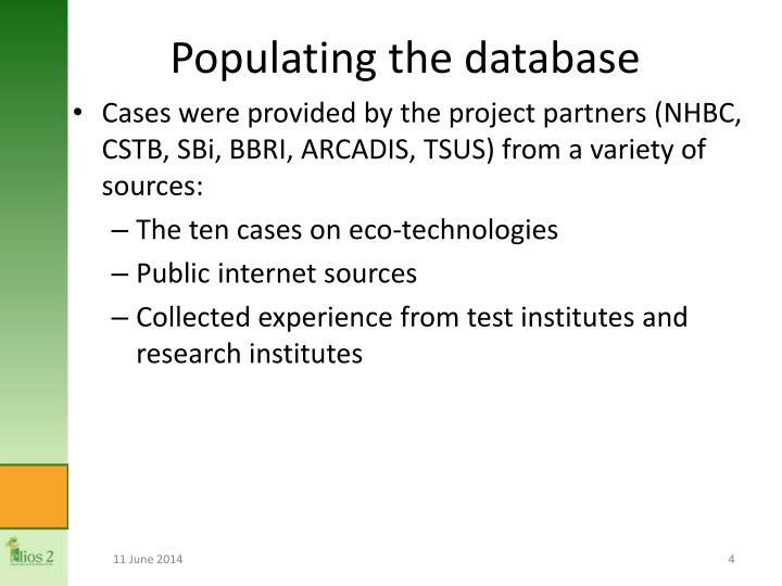 Populating the database