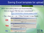 saving excel template for upload