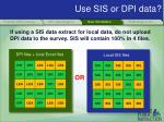 use sis or dpi data