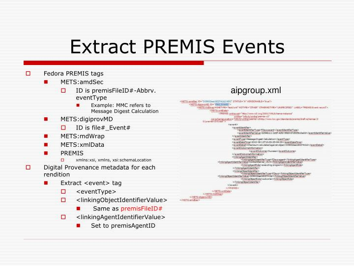 Extract PREMIS Events