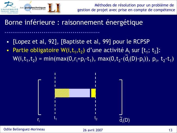 Borne inférieure : raisonnement énergétique