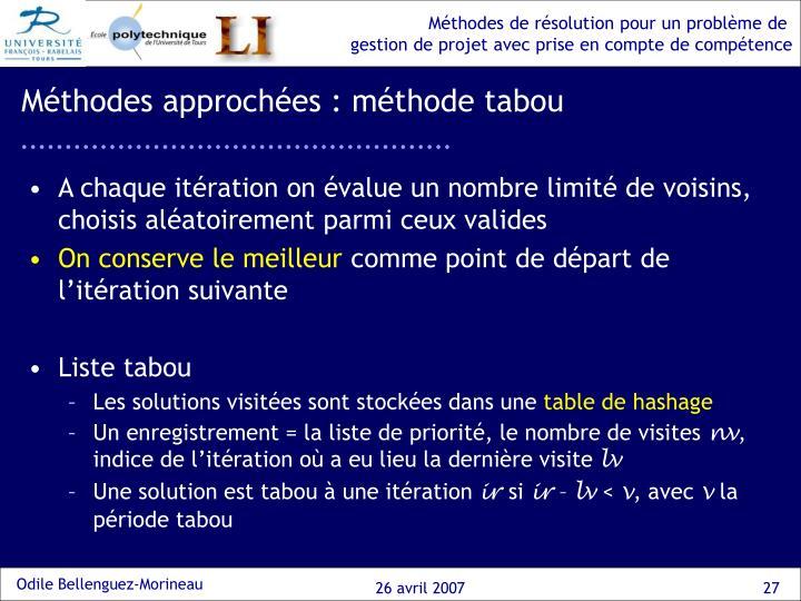 Méthodes approchées : méthode tabou