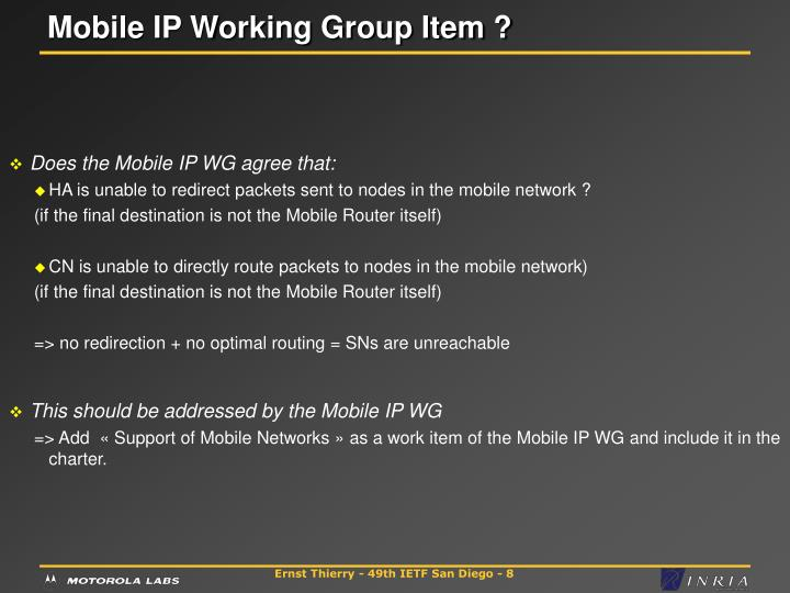 Mobile IP Working Group Item ?