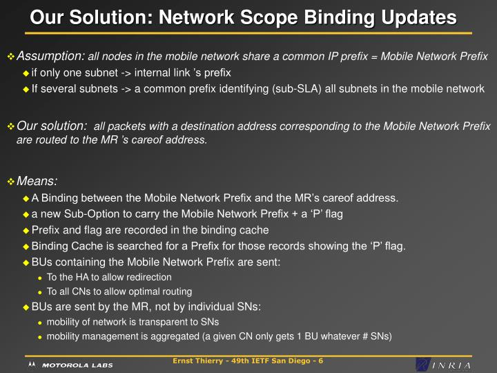 Our Solution: Network Scope Binding Updates