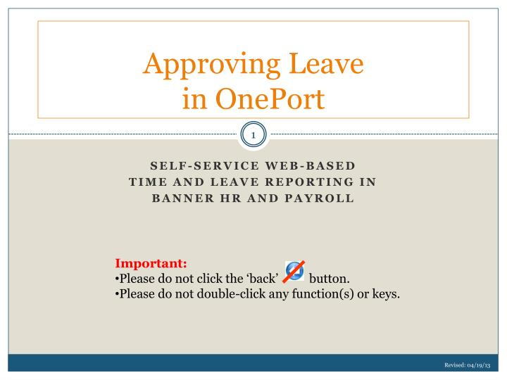 approving leave in oneport n.
