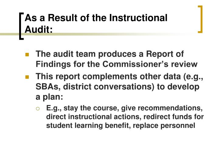 As a Result of the Instructional Audit: