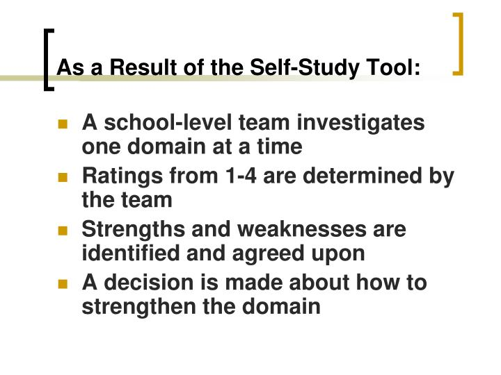 As a Result of the Self-Study Tool:
