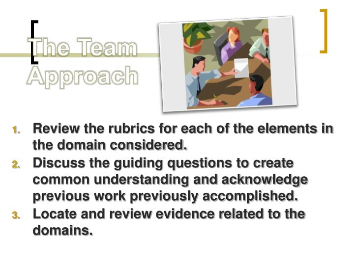 Review the rubrics for each of the elements in the domain considered.