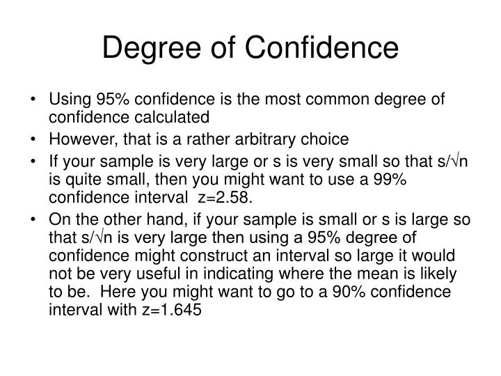 Degree of Confidence