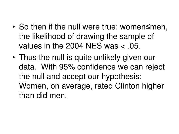 So then if the null were true: women