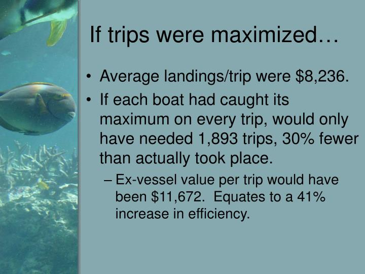 If trips were maximized…