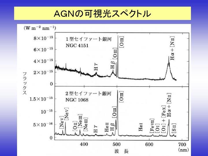 AGNの可視光スペクトル