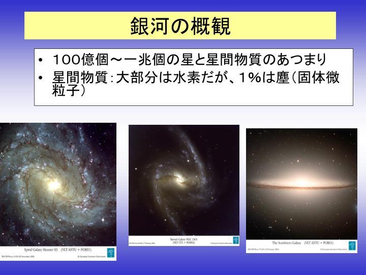 100億個~一兆個の星と星間物質のあつまり
