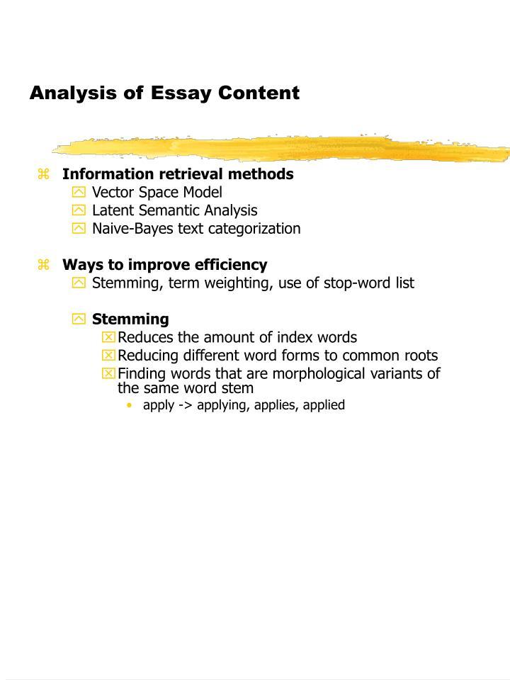 Analysis of essay content