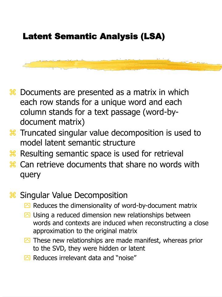 Latent Semantic Analysis (LSA)