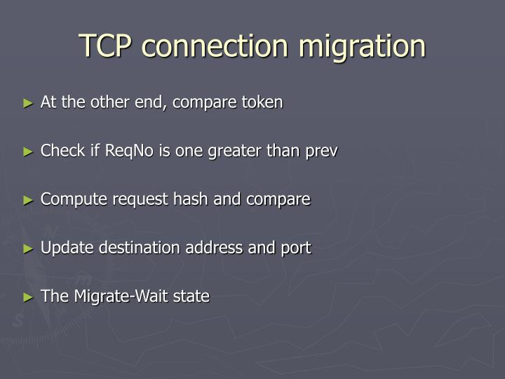 TCP connection migration