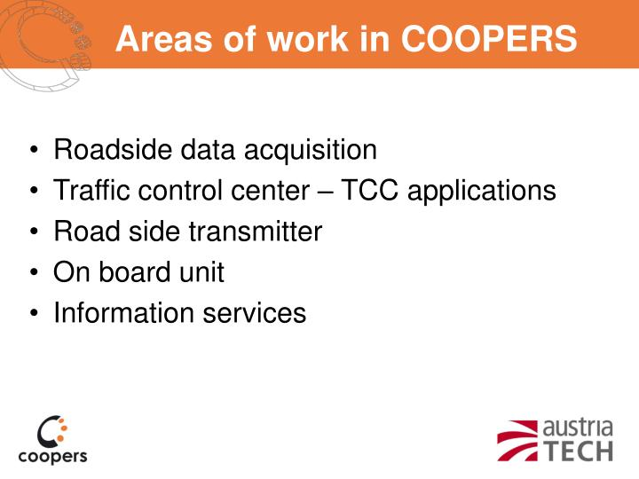 Areas of work in COOPERS