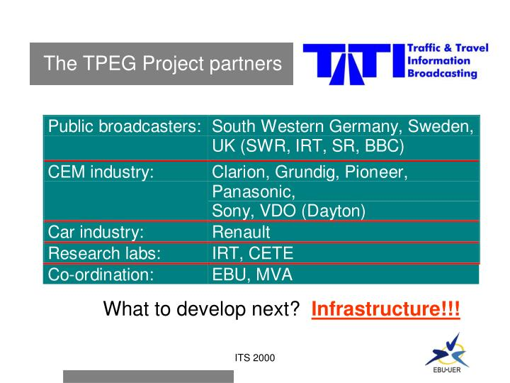 The TPEG Project partners